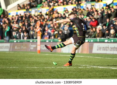 Northampton, UK. 9th February 2019. James Grayson of Northampton Saints kicks a conversion during the Premiership Rugby Cup semi-final between Northampton Saints and Newcastle Falcons