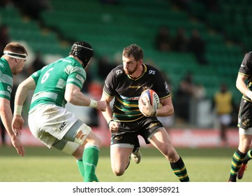 Northampton, UK. 9th February 2019. Tom Wood of Northampton Saints runs with the ball during the Premiership Rugby Cup semi-final between Northampton Saints and Newcastle Falcons