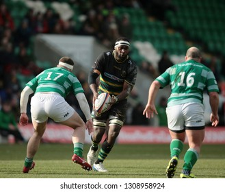 Northampton, UK. 9th February 2019. Api Ratuniyarawa of Northampton Saints runs with the ball during the Premiership Rugby Cup semi-final between Northampton Saints and Newcastle Falcons