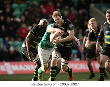 Northampton, UK. 9th February 2019. Jamie Gibson of Northampton Saints is tackled during the Premiership Rugby Cup semi-final between Northampton Saints and Newcastle Falcons