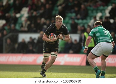 Northampton, UK. 9th February 2019. David Ribbans of Northampton Saints runs with the ball during the Premiership Rugby Cup semi-final between Northampton Saints and Newcastle Falcons