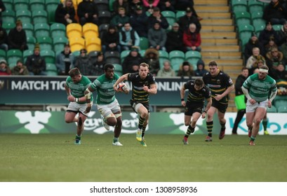 Northampton, UK. 9th February 2019. Rory Hutchinson of Northampton Saints runs with the ball during the Premiership Rugby Cup semi-final between Northampton Saints and Newcastle Falcons