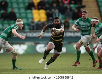 Northampton, UK. 9th February 2019. Taqele Naiyaravoro of Northampton Saints runs with the ball during the Premiership Rugby Cup semi-final between Northampton Saints and Newcastle Falcons