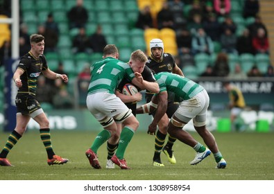 Northampton, UK. 9th February 2019. James Fish of Northampton Saints is tackled during the Premiership Rugby Cup semi-final between Northampton Saints and Newcastle Falcons