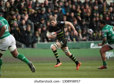 Northampton, UK. 9th February 2019. Jamie Gibson of Northampton Saints makes a break during the Premiership Rugby Cup semi-final between Northampton Saints and Newcastle Falcons