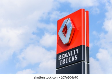 Northampton, UK - Apr 21, 2018:: Day view official Renault Trucks dealership sign over blue sky. Renault is a French multinational automotive manufacturer