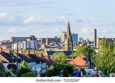 Northampton UK - Aug 15 2017: Cloudy Day Cityscape View of Northampton UK