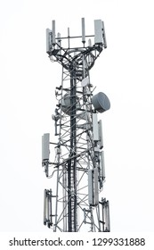Northampton, UK - Circa January 2019: Detailed view of a newly installed 4G and Microwave communications tower. Showing the various antennas and omnidirectional network and phone systems.