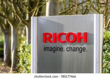 Northampton UK December 07, 2017: Ricoh Imagine Change logo sign in Brackmills Industrial Estate