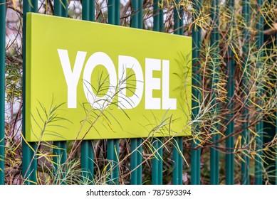 Northampton UK December 07, 2017: Yodel delivery Service logo sign in Brackmills Industrial Estate