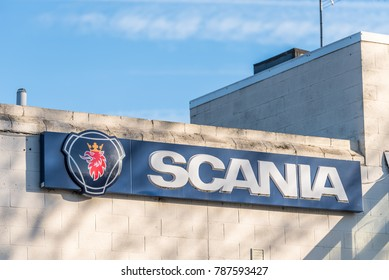 Northampton UK December 07, 2017: Scania Motors logo sign in Brackmills Industrial Estate