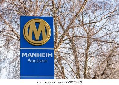 Northampton UK December 09, 2017: Manheim Acutions logo on Warehouse sign in Brackmills Industrial Estate