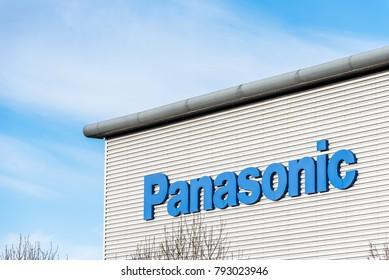 Northampton UK December 09, 2017: Panasonic Logistics Distribution logo sign in Brackmills Industrial Estate