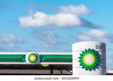 Northampton, UK - Feb 26, 2018: Day view of British Petroleum BP logo in town center