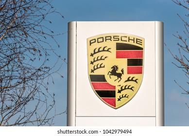 Northampton UK February 24 2018: Porsche logo sign stand in Northampton Town Centre