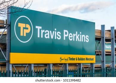 Northampton UK January 04, 2018: Travis Perkins Timber Supplier logo sign in Sixfields Industrial Park