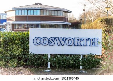 Northampton UK January 05 2018: Cosworth Engines Specialist Logo Sign