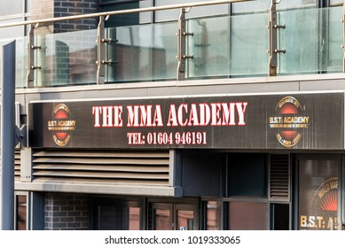Northampton UK January 05, 2018: The MMA Academy logo sign in SOL Northampton Town centre