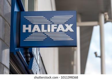 Northampton UK January 06 2018: Halifax logo sign post