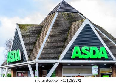 Northampton UK January 06 2018: Asda Superstore logo sign exterior
