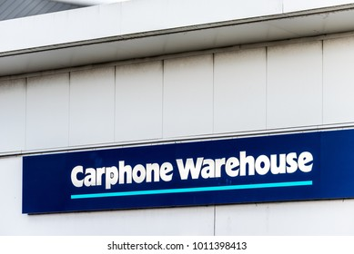 Northampton UK January 06 2018: Carphone Warehouse logo sign post