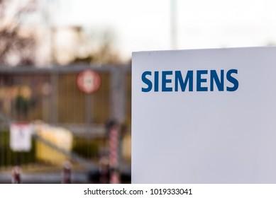 Northampton UK January 06 2018: Siemens logo sign post