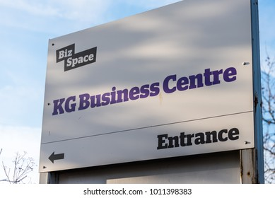 Northampton UK January 10 2018: Biz Space KG Business Centre logo sign stand