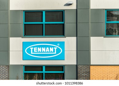Northampton UK January 10, 2018: Tennant Cleaning Solutions logo sign post