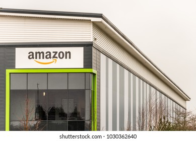 Northampton UK January 23 2018: Amazon Logistics Marketplace logo sign on warehouse wall in Grange Park Industrial
