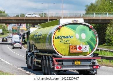 Northampton, UK - May 10th 2019: british petroleum tanker lorry truck on uk motorway in fast motion