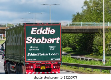 Northampton, UK - May 10th 2019: eddie stobart curtain side lorry truck on uk motorway in fast motion