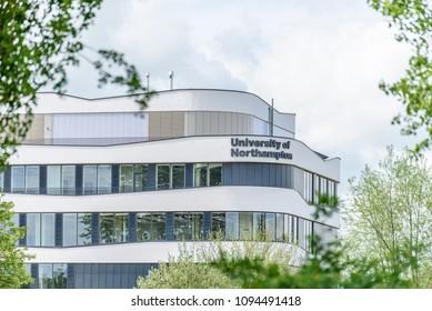 Northampton UK May 9, 2018: University of Northampton logo sign on new building on nene river