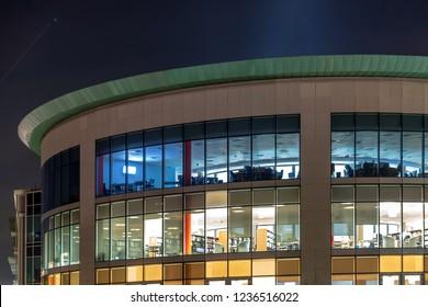 Northampton UK November 13 2018: night view of windows of modern northampton college booth lane building