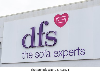 Northampton, UK - Oct 26, 2017: View of DFS Sofa Experts Logo in Nene Valley Retail Park.