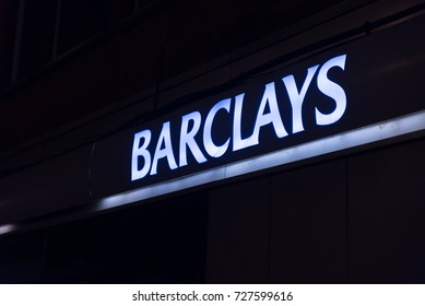 Northampton UK October 3, 2017: Barclays bank logo sign stand Northampton industrial estate.