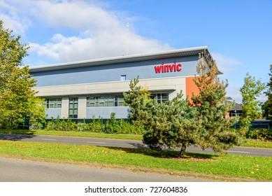 Northampton UK October 3, 2017: Winvic logo sign Northampton industrial estate.