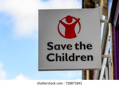 Northampton UK October 5, 2017: Save the children charity logo sign in Northampton town centre.