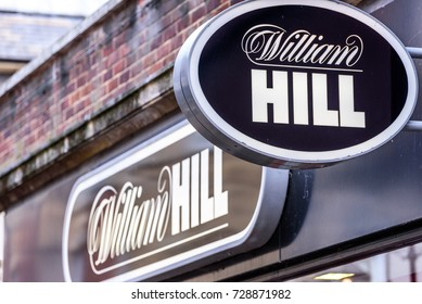 Northampton UK October 5, 2017: William Hill betting logo sign in Northampton town centre.