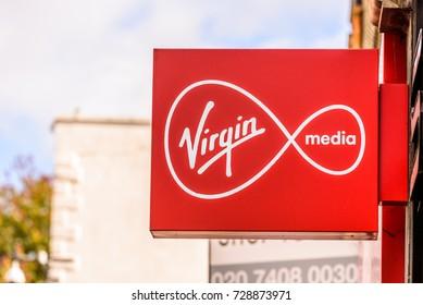 Northampton UK October 5, 2017: Virgin Media logo sign in Northampton town centre.