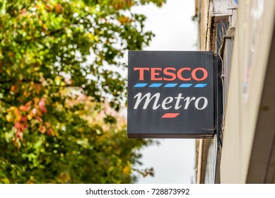 Northampton UK October 5, 2017: Tesco Metro logo sign in Northampton town centre.
