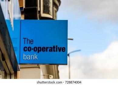 Northampton UK October 5, 2017: The Cooperative Bank bank logo sign in Northampton town centre.