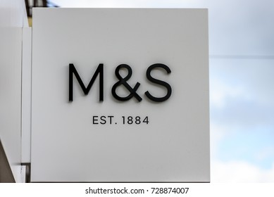 Northampton UK October 5, 2017: Mark and Spencer logo sign in Northampton town centre.