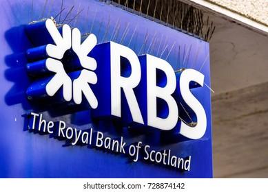 Northampton UK October 5, 2017: Royal bank of Scotland logo sign in Northampton town centre.