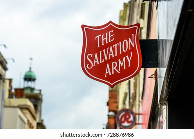 Northampton UK October 5, 2017: The Salvation Army logo sign in Northampton town centre.