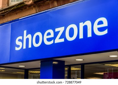Northampton UK October 5, 2017: Shoezone logo sign in Northampton town centre.