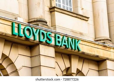 Northampton UK October 5, 2017: Lloyds Bank logo sign in Northampton town centre.