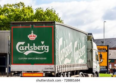 Northampton UK October 5, 2017: Carlsberg Beer logo sign on truck in Northampton town centre.