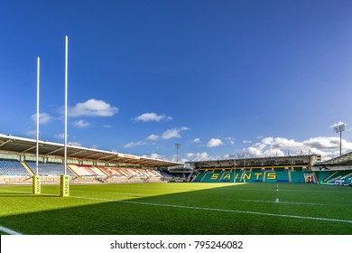 Northampton,England on 16th Jan 2018. Franklin's Gardens is a purpose-built rugby stadium. It is the home stadium of Northampton Saints rugby union club. The stadium holds over 15,000people.