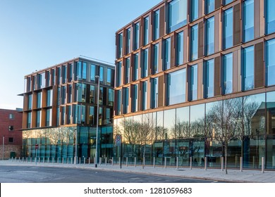 Northampton,England on the 8th Jan 2018:  One Angel Square is the main office building of Northamptonshire County Council. The building is clad with vertical copper fins designed by BDP architects
