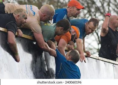 """NORTHAMPTONSHIRE/UK - May 4, 2013:  Tough Mudders who conquered """"Everest"""", an obstacle on the course, lend support to others  at the annual Tough Mudder extreme sports."""